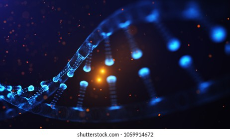 A particulate 3D rendered DNA on a blue bokeh background.