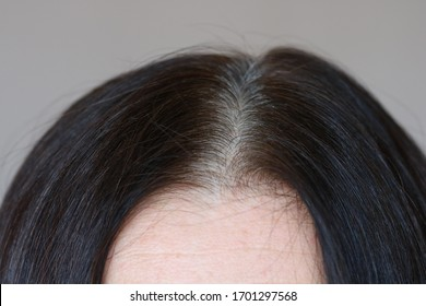 Parting of dark brown wonan's hair with grey roots, side view, close up