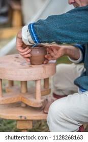 Partizanska Lupca , SLOVAKIA-JUNE 30,2018: Utgard - Early Medieval Festival. Folk production handmade, pottery.