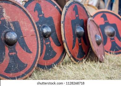 Partizanska Lupca , SLOVAKIA-JUNE 30,2018: Utgard - Early Medieval Festival. Military Historical Shields and Armor.
