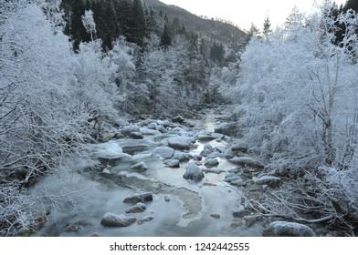 Partly frozen river in Voss Norway