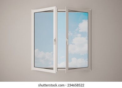 Partly opened window with blue sky and white clouds (3D Rendering)