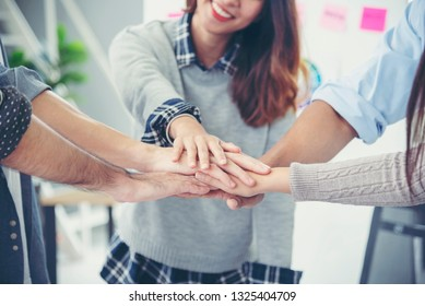 Partner Business Teamwork Trust Partnership Concept.Businessman fist bump dealing business working industry contractor. Success mission team conference meeting together.Group of People Hands together
