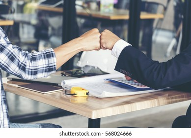 Partner Business Trust Teamwork Partnership. Industry contractor fist bump dealing mission business. Success mission team meeting group of People Hands together. Business trust teamwork Concept