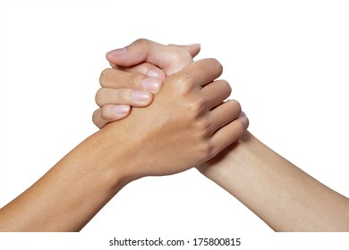 Partner hand between a man and woman on white background