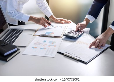 Partner meeting of business people colleagues consultation and discussion marketing plan meeting concept on financial report and analyzing investment project to development grow to success.