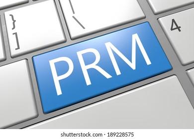 Partner Relationship Management - keyboard 3d render illustration with word on blue key
