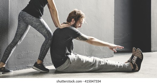 Partner Training Stretching Workout Concept