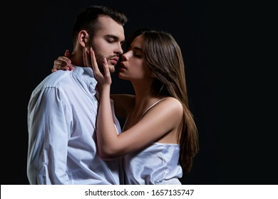 Partners in love kissing. Kiss. Sexual relations. Beautiful woman kiss handsome man