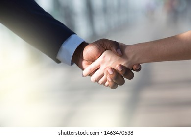 Partners shaking hands . Woman and man greeting each other.