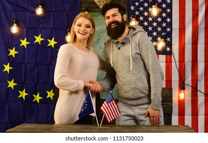 partnership between European union and USA flags. political relationship concept