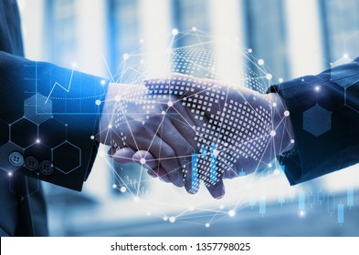 Partnership - business man handshake with effect global world map network link connection and graph chart of stock market graphic diagram, digital technology, internet communication, teamwork concept