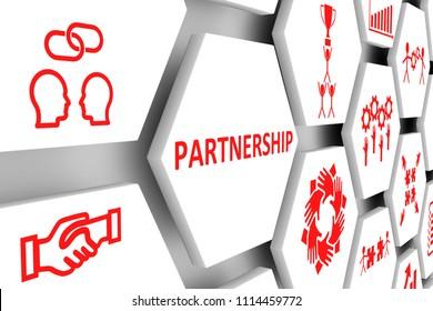 PARTNERSHIP concept cell background 3d illustration