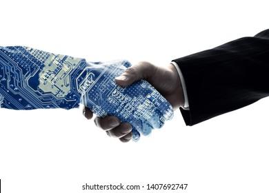 Partnership of human and robot. AI (Artificial Intelligence).