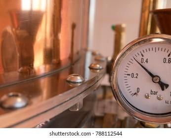 parts of alembic still, pressure meter