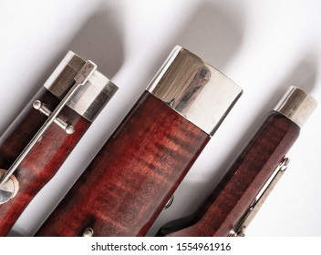 parts of a bassoon on the white background