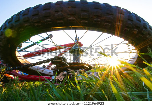parts of a bicycle against the sun