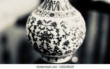 Parts of a ceramic flower pots unique black and white photo