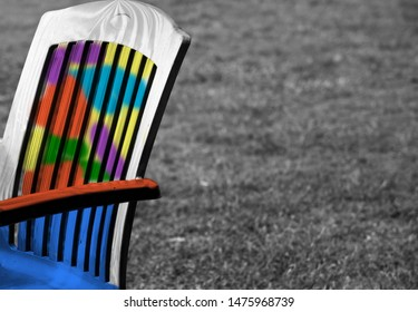 Parts of a colourful plastic chair unique photo
