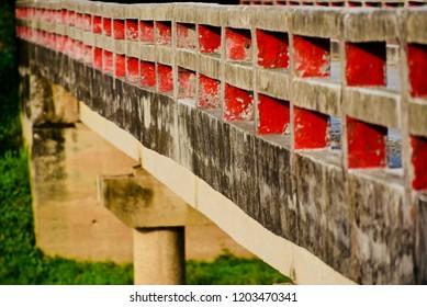 Parts of a concrete bridge unique photo