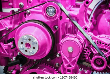parts of internal combustion engine for construction machinery. Modern technologies in mechanical engineering. purple Tinted images