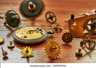 Parts of mechanical watches. Shallow depth of field