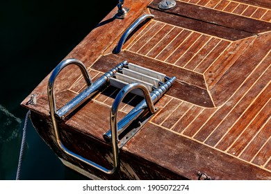 Parts of moored boats, seaside