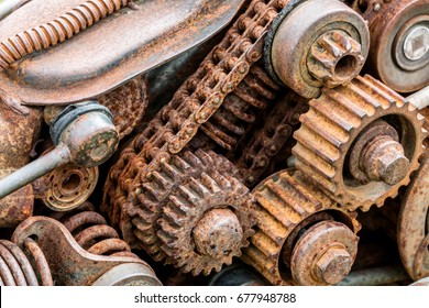 parts of old broken machine under corrosion closeup