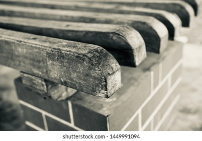 Parts of an old wooden bench unique photo