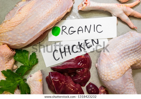 Parts Organic Chicken Leg Breast Wing Stock Photo (Edit Now