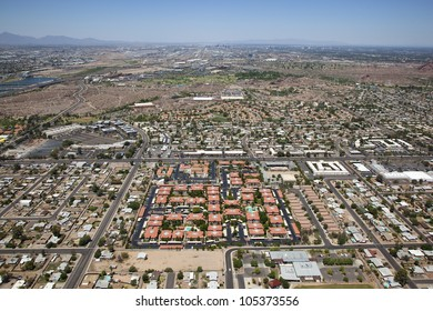 Parts of Phoenix, Scottsdale and Tempe in an Aerial View