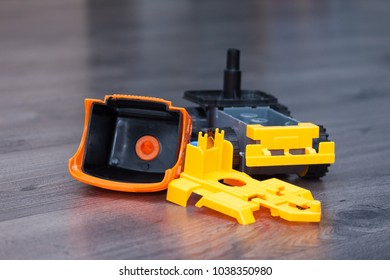 Parts of plastic toy car,  disassembled car toy