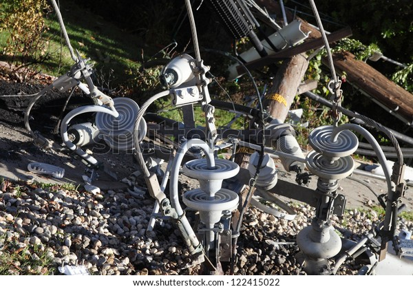 Parts Power Pole On Ground After Stock Photo (Edit Now