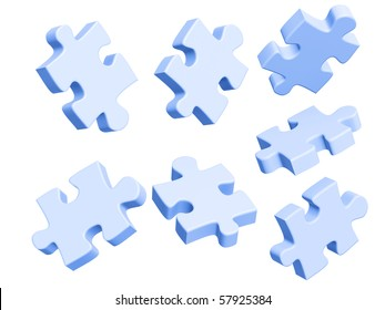 Parts of a puzzle. Objects over white