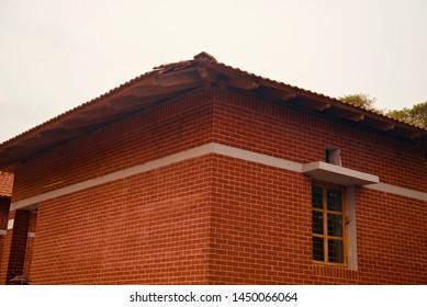 Parts of a red bricks house building unique photo