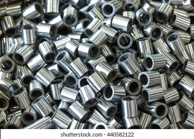 Parts - rollers from the pipe made turning in the workshop of machinery plant and grinded