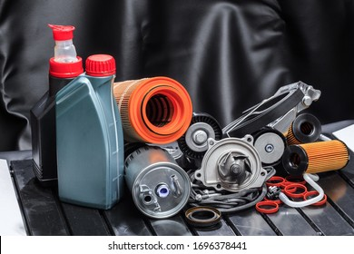 parts for scheduled car maintenance.Oil , air , fuel filter, Water pumps motor, belt car engine   for car