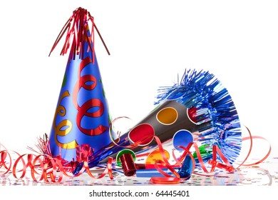 Party accessories on white background
