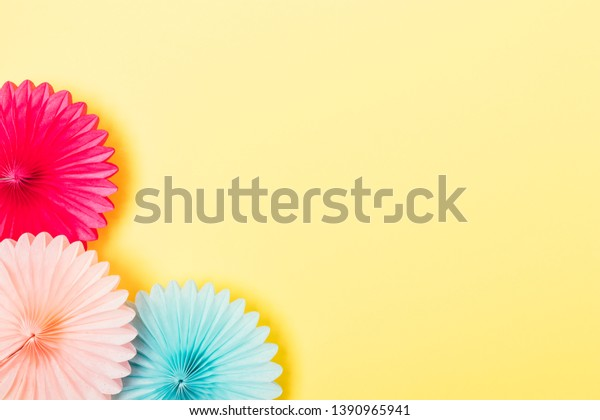 Party Background Tissue Paper Decorations Pink Stock Photo