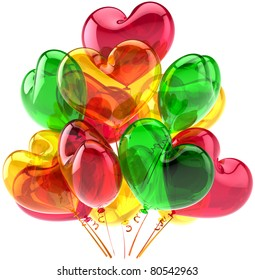 Party balloons birthday anniversary decoration heart shaped multicolor. Romantic love joy happy abstract. Holiday wedding celebration design element. Detailed 3d render. Isolated on white background