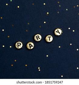 PARTY beads text typography on dark blue