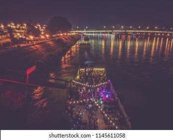 Party boat in Bratislava at night on the Danube river