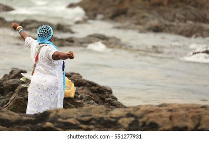 Party to celebrate Yemanja Day in Salvador (BA), Brazil.The event held on the beach of the Red River and attracts people to revenciar the Queen of the Sea by Candomble followers. Feb. 2, 2016.