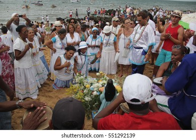 Party to celebrate Yemanja Day in Salvador (BA), Brazil.The event held on the beach of the Red River and attracts people to revenciar the Queen of the Sea by Candomble followers. Feb. 2, 2014.