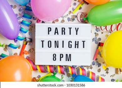 Party celebration background with party tonight message on a lightbox