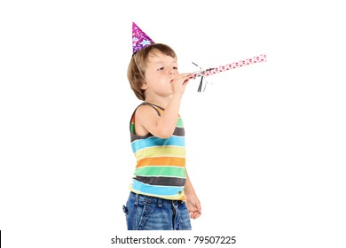 A party child celebrating isolated on white background