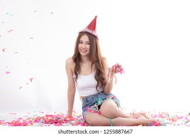 Party christmas and happy new year time. Cheerful attractive young asian woman happy excited and smiling. Sexy celebration holiday concept.