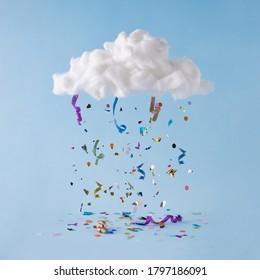 Party Cloud mit bunten Konfetti und Streamern. Minimaler Hintergrund für Feierlichkeiten.
