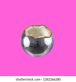 Party collage. Concept Coconut disco ball on pink background.