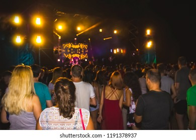 The party, concert concept. Crowd raising their hands and enjoying great rock festival. blur bokeh for background.